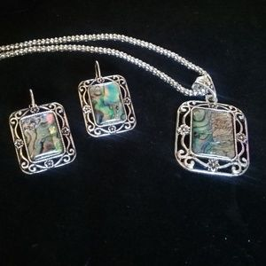 Abalone shell earring and necklace set